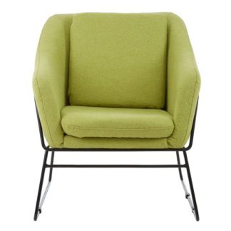 An Image of Porrima Green Chair With Stainless Steel Legs