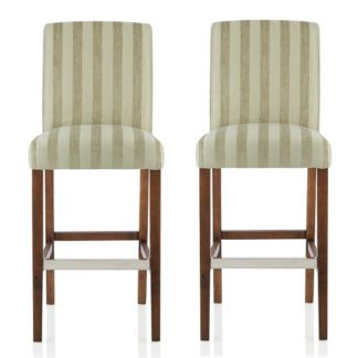 An Image of Alden Bar Stools In Sage Fabric And Walnut Legs In A Pair