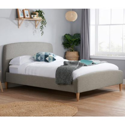 An Image of Quebec Fabric King Size Bed In Grey