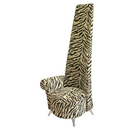 An Image of Amily Right Handed Potenza Chair In Gold Velvet Tiger Print