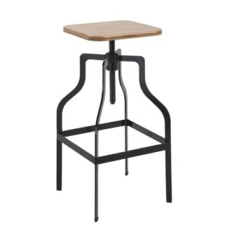 An Image of Andora Bar Stool In Black With Wooden Seat