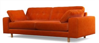 An Image of Content by Terence Conran Tobias, 3 Seater Sofa, Plush Paprika Velvet, Light Wood Leg