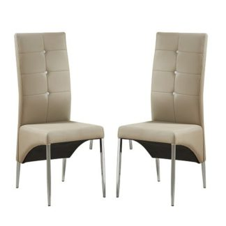 An Image of Vesta Studded Dining Chair In Taupe Faux Leather In A Pair