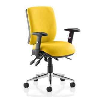 An Image of Chiro Medium Back Office Chair In Senna Yellow With Arms