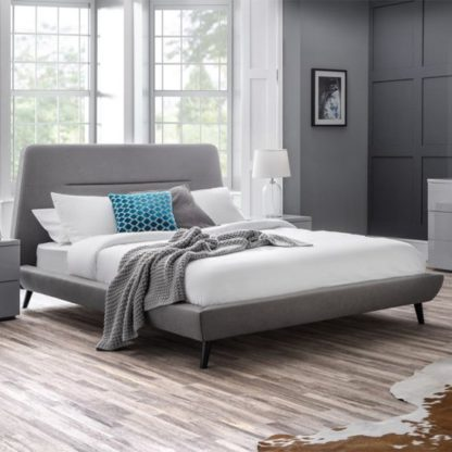 An Image of Kyoto Linen Framed Double Bed In Grey