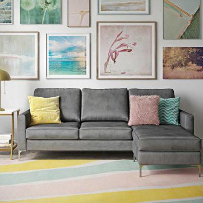 An Image of Chapman Velvet Corner Sofa In Grey with Chrome Legs