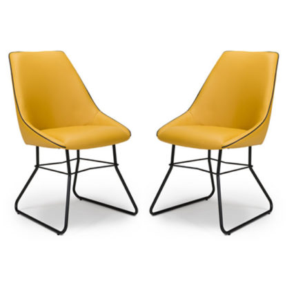 An Image of Cooper Ochre Faux Leather Dining Chair In A Pair
