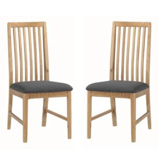An Image of Trimble Oak Dining Chair In Pair