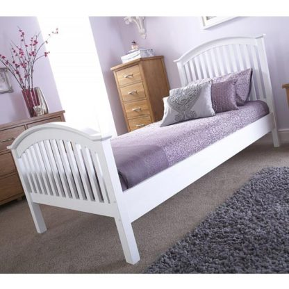 An Image of Madrid Rubberwood Small Double Bed In White