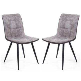 An Image of Rodeo Light Grey Suede Effect Dining Chair In A Pair