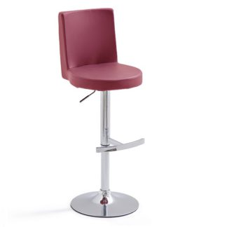 An Image of Twist Bar Stool Bordeaux Faux Leather With Round Chrome Base