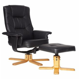 An Image of Canzone Recliner Chair In Black Faux Leather With Footstool