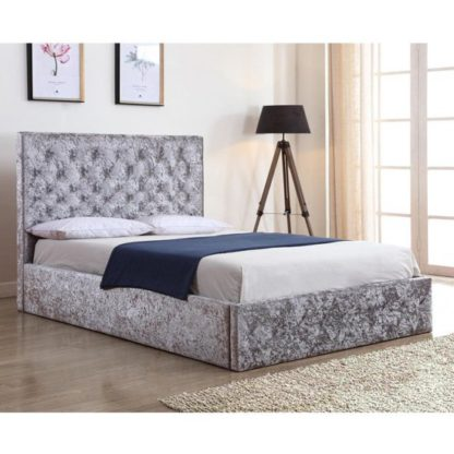 An Image of Yasmin Crushed Velvet Storage Double Bed In Silver