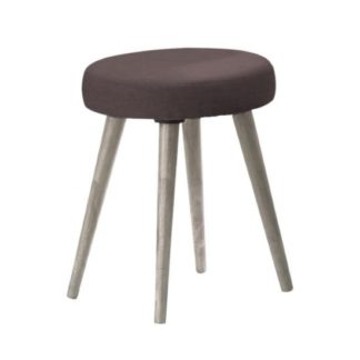An Image of Rufford Wooden Dressing Table Stool Round In Grey Oak Effect