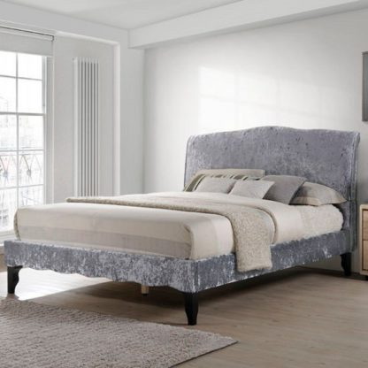 An Image of Orbit Fabric King Size Bed In Dark Grey Crushed Velvet