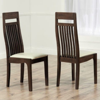 An Image of Pollux Dark Cream Dining Chairs In Pair