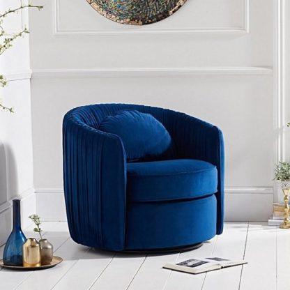 An Image of Medan Modern Swivel Sofa Chair In Blue Velvet
