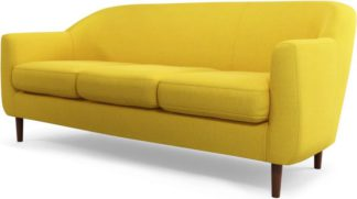 An Image of Custom MADE Tubby 3 Seater Sofa, Retro Yellow with Dark Wood Legs