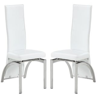 An Image of Romeo Dining Chair In White Faux Leather In A Pair