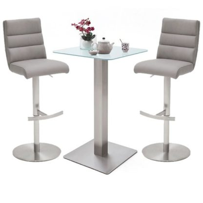 An Image of Soho White Glass Bar Table With 2 Hiulia Ice Grey Leather Stools