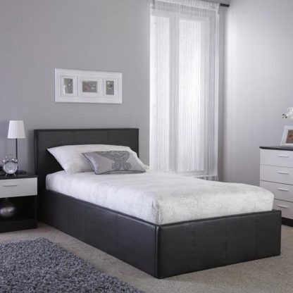 An Image of Side Lift Ottoman Faux Leather Small Double Bed In Black