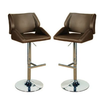 An Image of Pacific Brown Leather Bar Stool In Pair