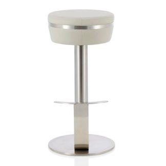 An Image of Heston Bar Stool In Grey Faux Leather With Stainless Steel Base