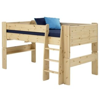 An Image of Pathos Wooden Mid Sleeper Bed In Pine With Ladder