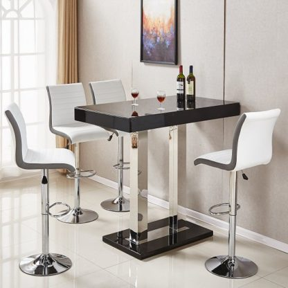An Image of Caprice Glass Bar Table In Black Gloss With 4 Ritz White Stools