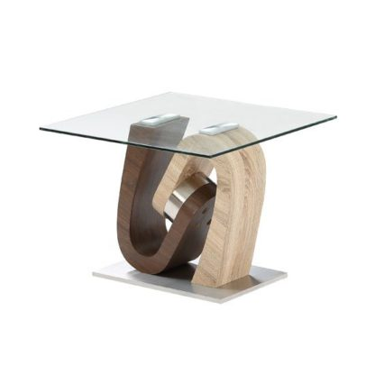 An Image of Tripoli Lamp Table In Clear Glass Top With Stainless Steel Base