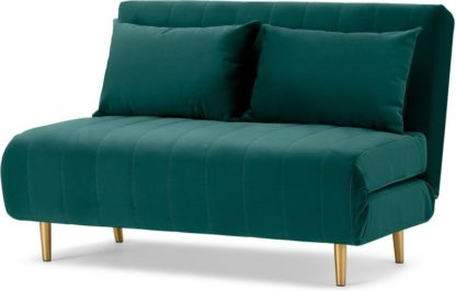 An Image of Bessie Small Sofa Bed, Seafoam Blue Velvet