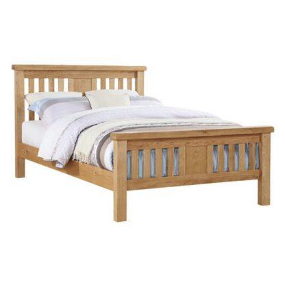An Image of Heaton Wooden Double Bed In Oak