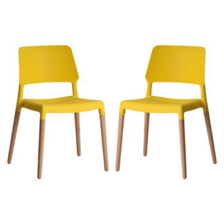 An Image of Riva Yellow Finish Dining Chairs In Pair