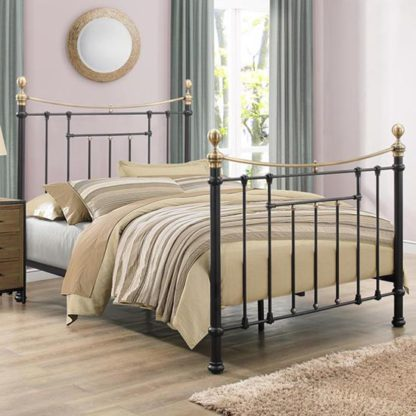 An Image of Bronte Steel Double Bed In Black