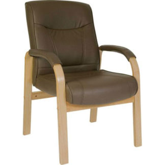 An Image of Norman Leather And Wood Visitors Office Chair
