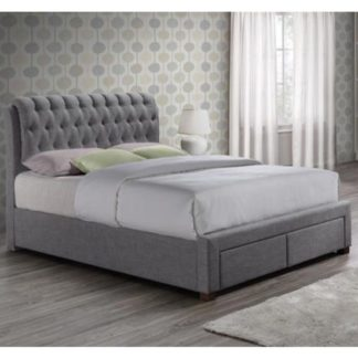An Image of Valentino Fabric King Size Bed In Grey With 2 Drawers