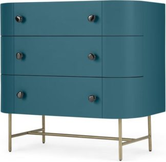 An Image of Tandy Chest of Drawers, Teal Blue with Gloss Black Handles & Brass Legs