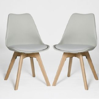 An Image of Regis Dining Chair In Grey With Wooden Legs In A Pair