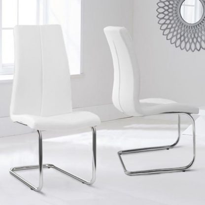 An Image of Naos White PU Leather Dining Chairs In Pair With Hooped Leg