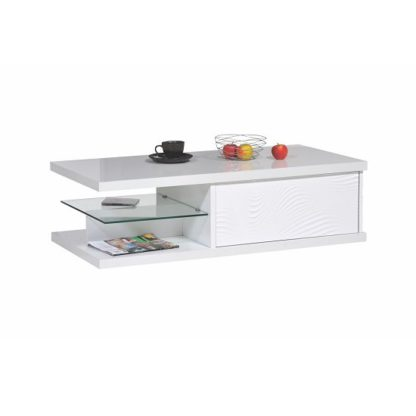An Image of Carmen Coffee Table In White Gloss With 1 Drawer And Glass Shelf