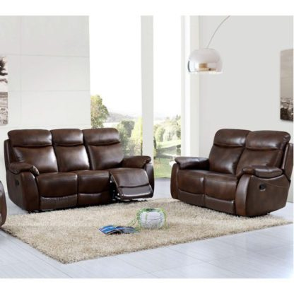 An Image of Pincoya Leather 3 Seater Sofa And 2 Seater Sofa Suite In Tan