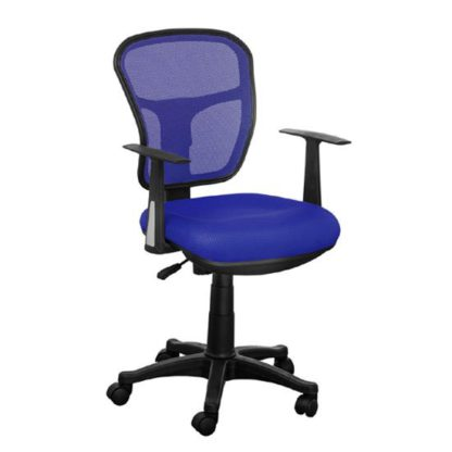 An Image of Santo Blue Padded Fabric Seat With Mesh Back Rest Office Chair