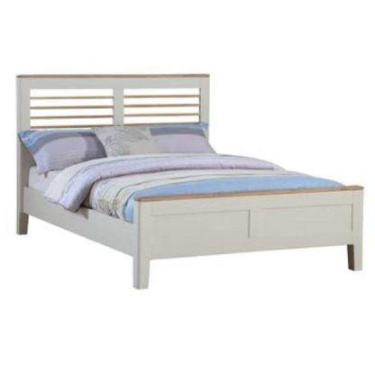 An Image of Trimble Wooden Double Size Bed In Spanish White Painted