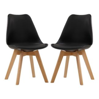 An Image of Louvre Black Finish Dining Chairs In Pair