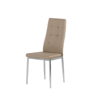 An Image of Cosmo Dining Chair In Taupe Faux Leather With Chrome Legs