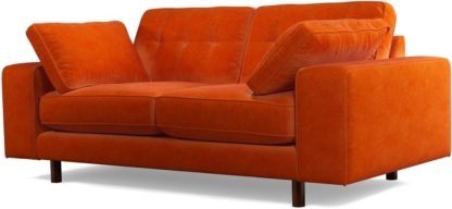 An Image of Content by Terence Conran Tobias, 2 Seater Sofa, Plush Paprika Velvet, Dark Wood Leg