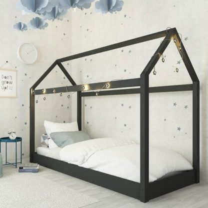 An Image of Hickory Wooden Single House Bed In Black