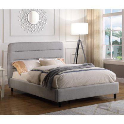 An Image of Malibu Velvet King Size Bed In Light Grey