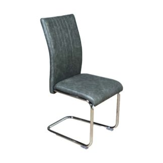 An Image of Ceibo Leather Dining Chair In Two Tone Grey