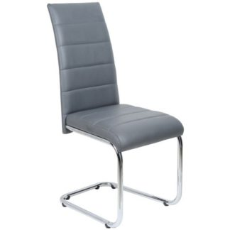 An Image of Daryl Dining Chair In Grey PU Leather With Stainless Steel Legs
